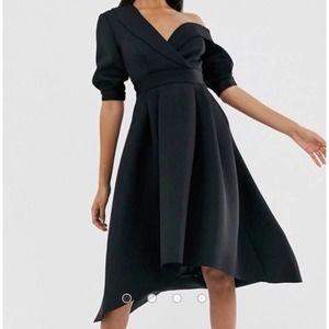 NEW asos Fallen Shoulder Tux Midi Dress Black 4